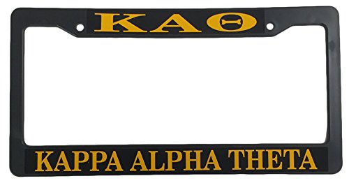 Kappa Alpha Theta Sorority Black Plastic License Plate Frame Greek Letter For Front Back of Car