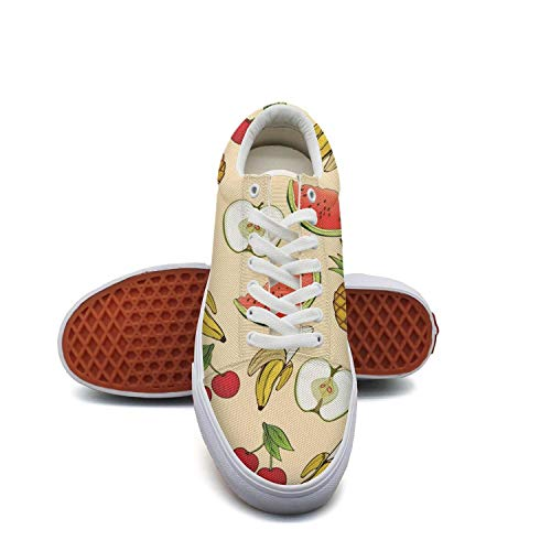 Banana Apple Pineapple Cherry Watermelon Canvas Sneakers for Women Lo-Top Quick-Drying Running Shoes For Girls