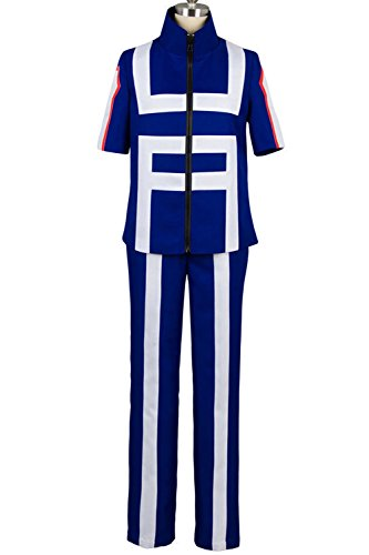 Valecos Cosplay Boku No Hero Academia My Hero Academia Izuku Midoriya Costume Training Suit Uniform Blue (Large) ()