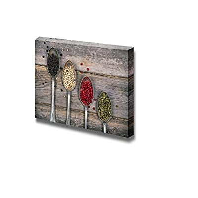 Tarnished Silver Spoons Containing Black White Pink and Green Peppercorns Over Old Wood Background Gallery ing - Canvas Art Wall Art - 24