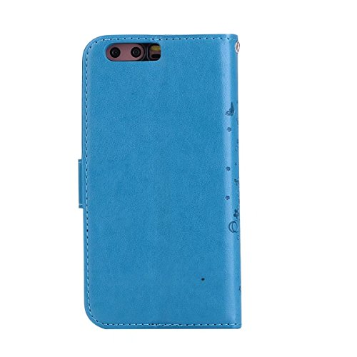 Wkae Detachable 2 in 1 Crazy Horse Texture PU Leather Case, Fairy Girl Embossed Pattern Flip Stand Case Pouch Cover with Lanyard & Card Cash Slots for Huawei P10 Plus (Color : Black) Blue