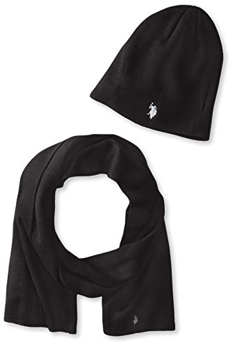 US-Polo-Assn-Mens-Solid-Beanie-and-Scarf-Set
