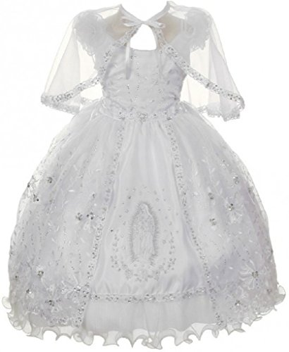 BluNight Collection Virgin Mary Embroidery Off Shoulder Baby Infant Girl Baptism Christening Dress (3T8R6K) White 4