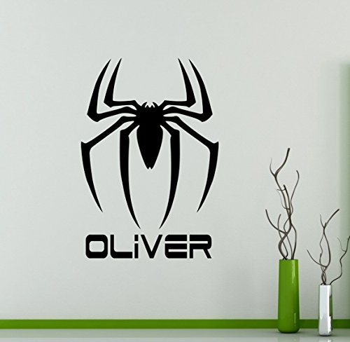 Personalized Name Wall Decal Spider Man Logo Vinyl Sticker Custom Decals Home Decor Removable Decor Wall Art 16(shl)