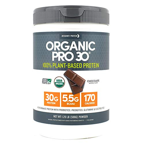 Designer Protein Organic Pro 30, Chocolate, 1.29 Pound, 100% Plant Based Protein Powder