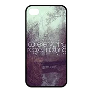 RebeccaMEI My Case Store Cute Quote Do Everything Regret Nothing APPLE IPHONE 4/4S Best Rubber Cover Case