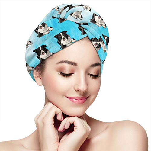 - SHARP-Q Border Collie Womens Swim Cap Dry Hair Cap Bathing Turban-Polyester Twisted Pleated Turban Head Cover