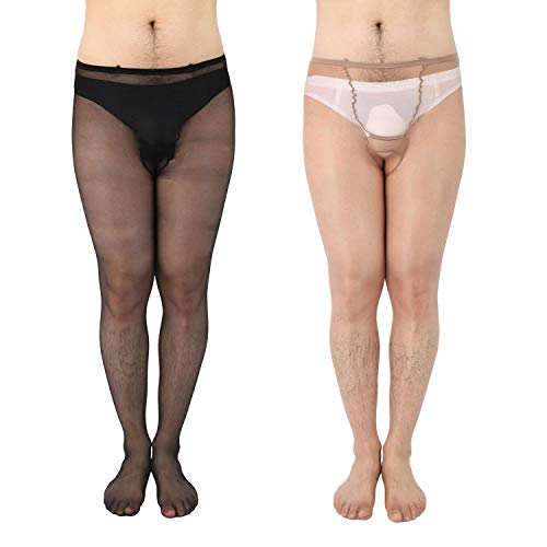58ce812d2b0 ElsaYX Men s Glossy Tights Pantyhose with Hole - 2 Pairs