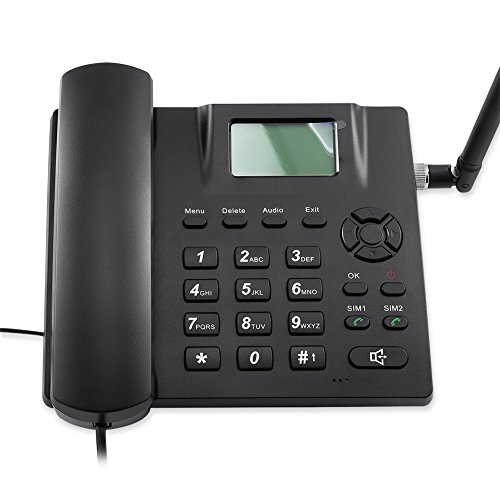 Desktop Wireless Telephone GSM Quadband Fixed Phone for Home and Office 2 Sim Card Desk Phone SMS Support Wireless Phone from TOPSMA