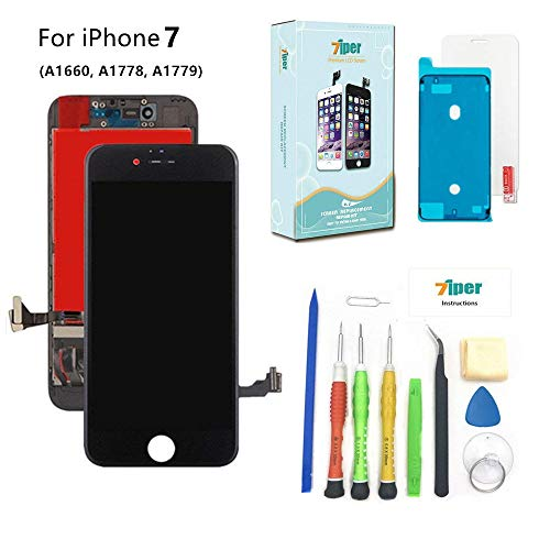 Screen Replacement for iPhone 7 (4.7 inch) -3D Touch LCD Screen Digitizer Replacement Display Assembly Repair Kits Waterproof Adhesive, Tempered Glass, Tools,Instruction (Black)
