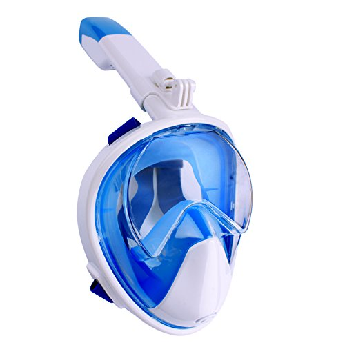 Full Face Snorkel Mask, Foldable 180 Panoramic View Scuba Snorkeling Mask Free Breathing, Detachable Camera Mount Pivot Full Face Diving Mask No Leak Anti-Fog Snorkeling Gear for Adults, Youths, Kids