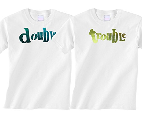 BeBe Bottle Sling- Double Trouble Foil- Blue and Green foil (Includes 2 White t-shirts), 12-18 mo
