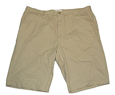 Calvin Klein Men's Flat Front 100% Cotton Chino Walking Shorts (36, Plaza Taupe)