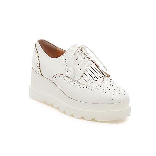 Odomolor Damen Schnüren Quadratisch Zehe Mittler Absatz Fransig Pumps Schuhe Weiß