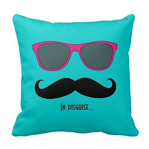 CBOutletArt Mustache and Sunglasses Disguise Pink Teal #506 Throw Pillow Case Decor Cushion Covers Square 18*18 - Disguise Sunglasses