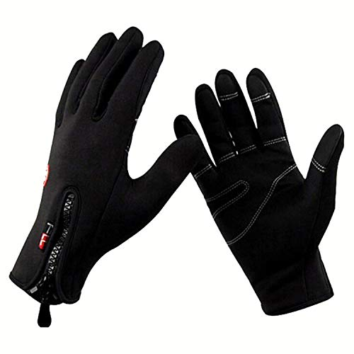 Gloves Anti Slip Windproof Thermal Warm Touchscreen Glove Breathable Tactico Winter Zipper Gloves,2 Black,S