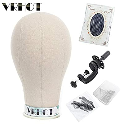 VRHOT 21 inch Canvas Block Head Mannequin Head Afro Wig Head Set with Stand Display Styling Head for Making Wigs Women (Gifts : C Clamp Stand+ T Pins + Wig Cap+ Clips)
