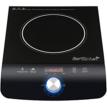 EurKitchen Portable Induction Cooktop Countertop Burner - Quick-Adjust Precision Control Dial - Safe and Easy to Use - 17 Temperature Settings -1800W - Requires Induction-Ready Cookware (Not Included)