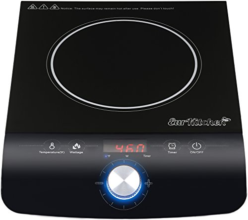 Safe and Powerful Portable Induction Cooktop Burner w/Cloth Bag by EurKitchen - 1800W - Quick-Adjust Precision Control Dial - 18 Temperature Settings - REQUIRES INDUCTION COOKWARE (NOT INCLUDED)