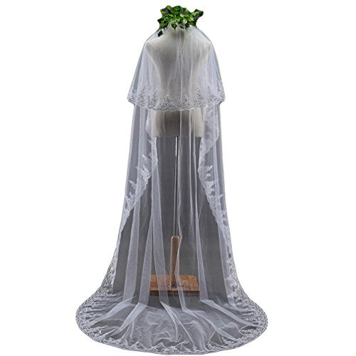 Wedding Veil Cathedral Length with Sequins Vintage 2 Tiers Long Bridal Veil with Comb Wedding Accessories, 3 Meters