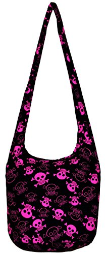 All Best Thing Pink Black Skull Bohemian Hobo Hippie Crossbody Bag Purse with Inner Lining 35 Inch N0030 by All Best Thing