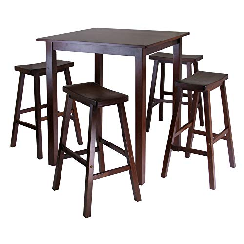 - Winsome's Parkland 5-Piece Square High/Pub Table Set in Antique Walnut Finish