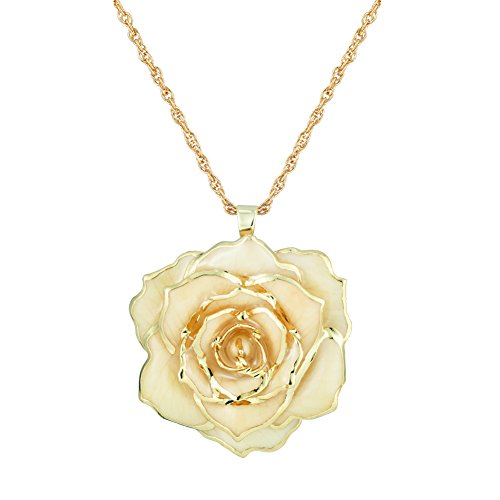 ZJchao Mothers Day Golden Necklace for Women, Long Golden 30mm Chain with 24k Gold Dipped Real Blue Rose Pendant