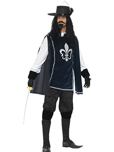 [Smiffy's Men's Musketeer Fancy Dres Costume Chest Men: Medium Blue] (Musketeer Sword Costume)