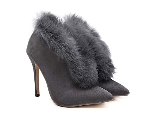Mujeres 12 cm Stiletto punta estrecha Plush V Botines Martin Boots Pure Color encantador vestido Boots OL Court Boots Eu Tamaño 34-40 Gray