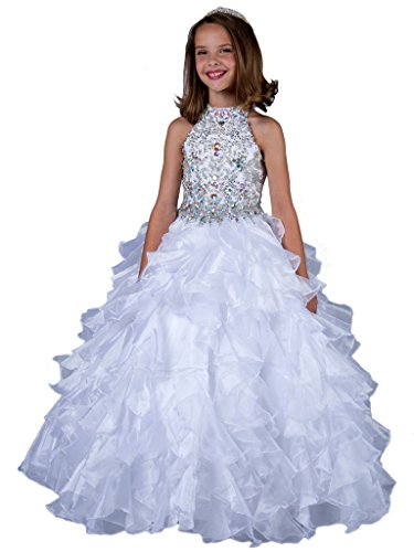 GreenBloom Crystals Girls' High Collar Beads Organza Hollow Pageant Dresses White 14