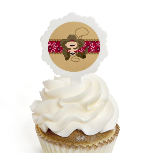 Little Cowboy - Western Cupcake Picks with Stickers - Baby Shower or Birthday Party Cupcake Toppers - 12 (Cowboy Themed Baby Shower)