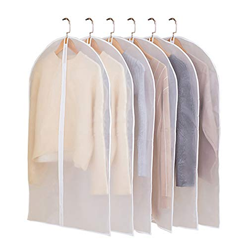 (JIESMART Hanging Garment Bag Lightweight Suit Bags Anti-Moth (Set of 6) with Study Full Zipper for Closet Storage and Travel,Clear Plastic Cover for Clothes Storage Suits Dress (24X40-6pcs))