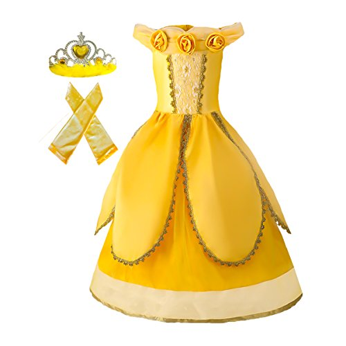 American Vogue Girls Princess Belle Dress up Costume & Accessory Play-Set (5-6 Years, Royal - Vogue Vogue