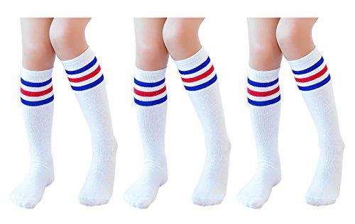 Knee High Tube Socks for Boys, Girls, Baby, Toddler & Child 3 Pairs (Blue Stripe,13.5in/34cm)]()