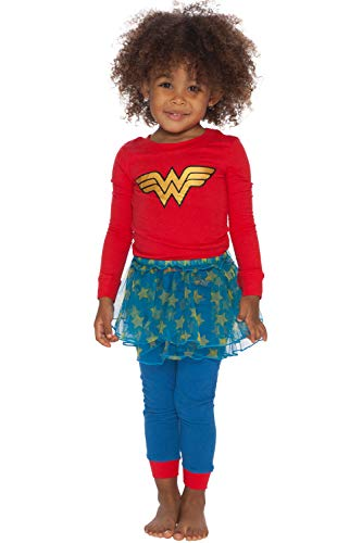 Wonder Woman Girls' Toddler Tutu Pajama Set, red, 4T