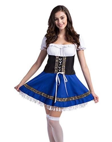 Women German Bavarian Costume Oktoberfest Beer Girl Dress Carnival Halloween (Blue/White,Small) -