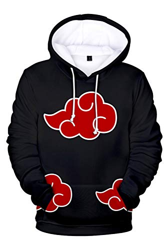 UU-Style Men's Naruto Akatsuki Cloud Long Sleeve Bomber Jacket Uchiha Itachi Cosplay Costume Hoodie Sweatshirt (XXXL, Pullover) -
