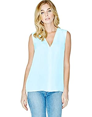 GUESS Faux Leather-Shoulder V-Neck Top
