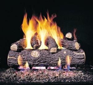 Peterson Gas Logs RDPG45-24 24in. Golden Oak Designer Plus G45 Burner 7 Log Set for Standard Fireplaces by Peterson Gas Logs