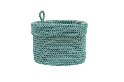 "Heritage Lace Mode Crochet Basket with Loop, 8 x 8"", Sea Spray"