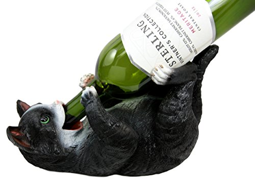 Atlantic-Collectibles-Feline-American-Shorthair-Black-Kitty-Cat-Wine-Bottle-Holder-Caddy-Figurine