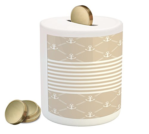 Lunarable Cream Piggy Bank, Classical Nautical Pattern with Anchor Icons and Chain Motifs Checkered and Striped, Printed Ceramic Coin Bank Money Box for Cash Saving, Tan ()