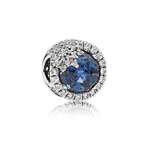 [판도라] PANDORA Blue Dazzling Snowflake 매력 (실버 믹스 스톤) 정식 수입품 796358NTB