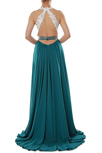 MACloth Women V Neck Lace Chiffon Long Prom Dresses Formal Party Evening Gown (38, Rojo)