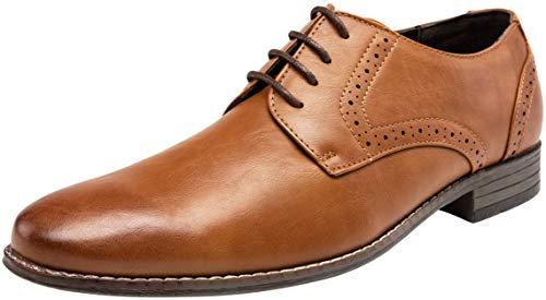 Wide Oxfords Shoes Brown - JOUSEN Men's Oxford Classic Plain Toe Brogue Formal Dress Shoes(9,Brown)