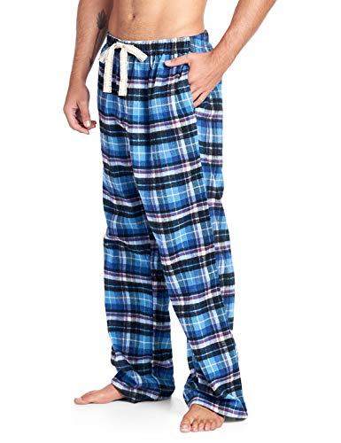 Ashford & Brooks Mens Super Soft Flannel Plaid Pajama Sleep Pants - Adriatic Blue/Black - 3X-Large ()