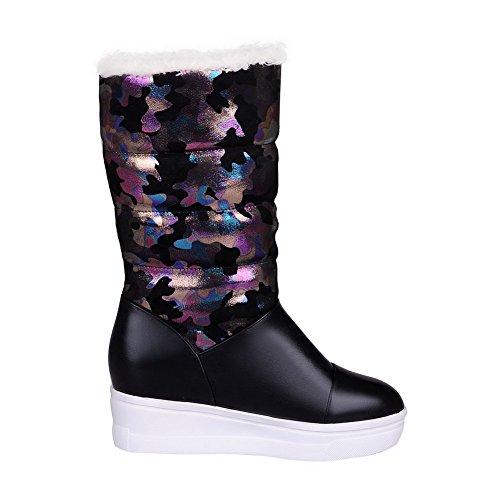 Amoonyfashion Dames Ronde Gesloten Neus Hoge Hakken Assorti Kleur Pull-on Laarzen Zwart