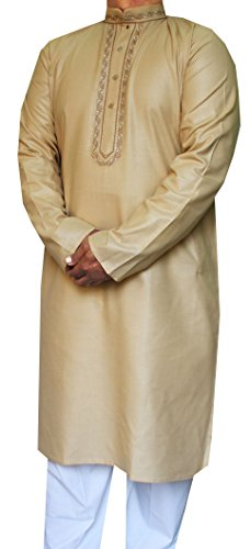 Maple-Abbigliamento-Uomo-Kurta-Pajama-Ricamato-In-Seta-Cotone-Indiano-Apparel