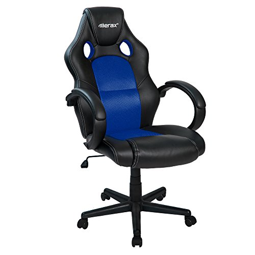 Merax Cobra Series Gaming Chair Office Chair Executive Home Office Chair Racing Style PU Leather Mesh Bucket Seat Swivel Computer Chair (Blue and Black) by Merax