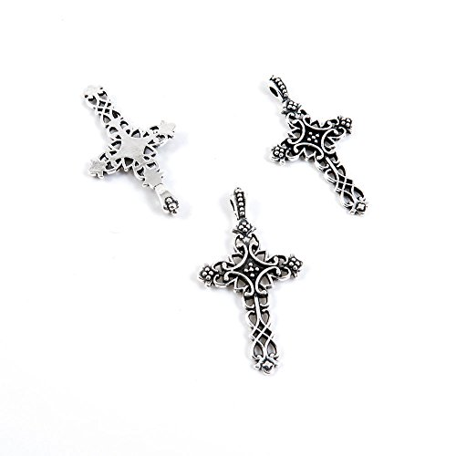 660 Pieces Antique Silver Tone Jewelry Making Charms K6QB4 Latin Cross Pendant Ancient Findings Craft Supplies Bulk - Cross 660